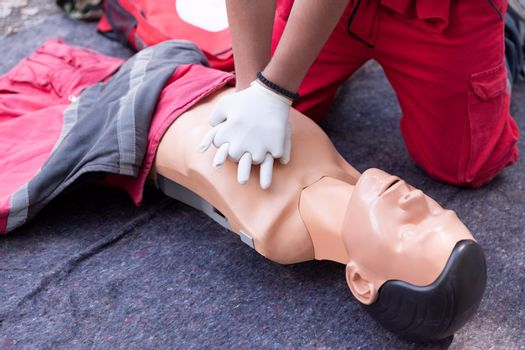 Cardiopulmonary resuscitation - CPR. First aid training detail. Cardiac massage.
