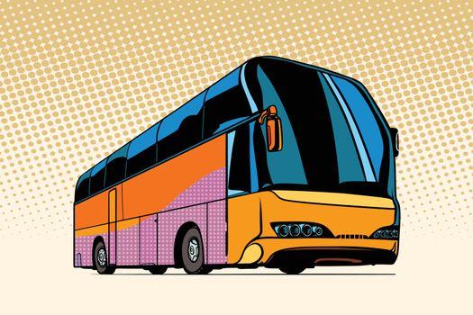 tourist bus, public transport. Pop art retro vector illustration