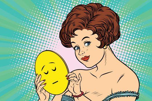 Beautiful woman with mask Emoji calm