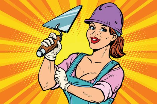 Construction worker with trowell. Woman professional
