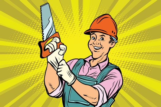 Construction worker with saw
