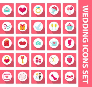 Wedding set of icons, design elements, flat style with long shadows. Marriage and romance of a collection of objects with fireworks, ring, bride, groom, balloons, hearts, flowers. Vector illustration