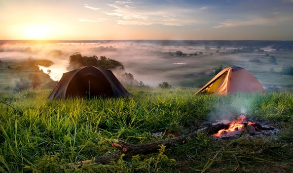 Camping in steppe