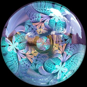 3D Glossy button with colorrful ornament