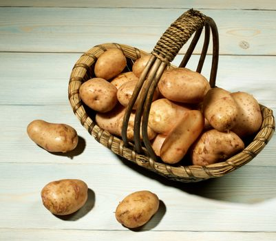 Arrangement of Perfect Raw New Yellow Potato in Wicker Basket closeup on Wooden background with Shadows