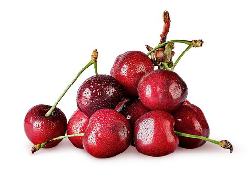 Heap of sweet cherry wet isolated on white background