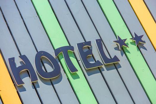 Design coloreful hotel sign