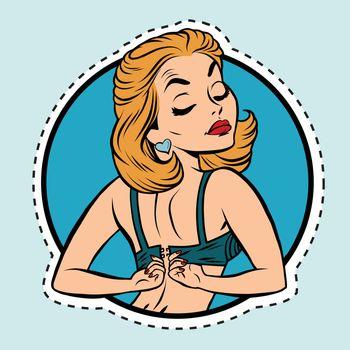 Pin-up girl wears a bra