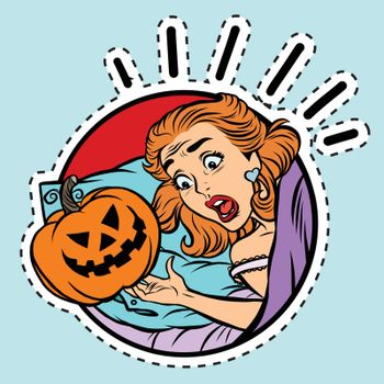 Girl scared Halloween evil pumpkin