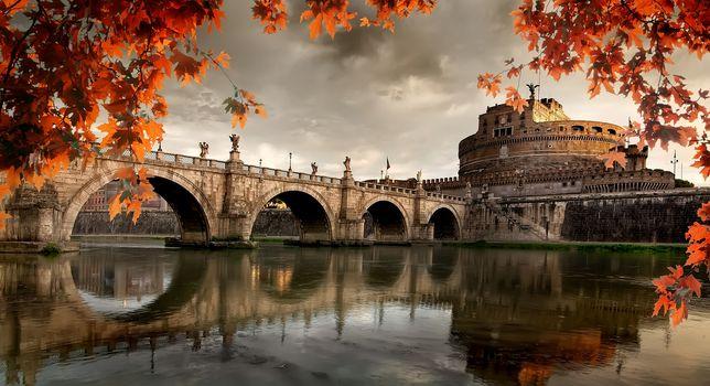 Roman castle in autumn