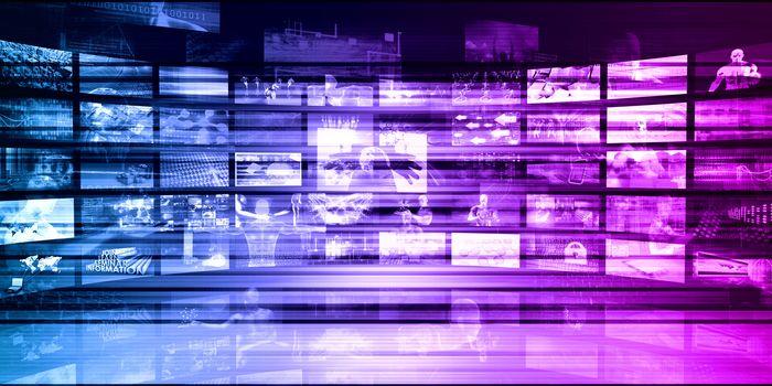 Technology Communications and Satellite Transmission Data Art