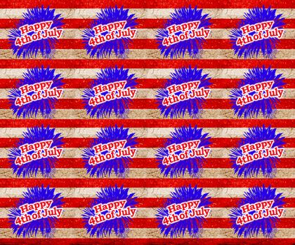Independence day graphic motif with 4th of july text seamless pattern design in vivid colors