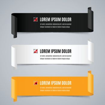 Set of Colorful Horizontal Curved Paper Ribbon Banners with Paper Rolls and Template Text in Black, White and Yellow Colors