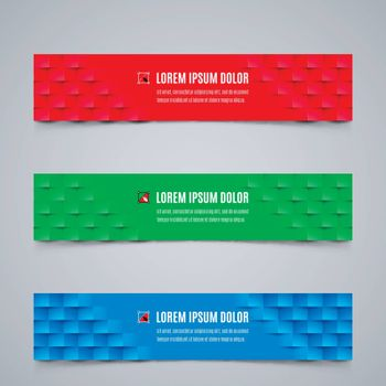 Set of Simple Banners Template with Abstract Geometric Pattern in Red, Green and Blue Colors