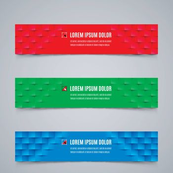 Set of Modern Banners Template with Geometric Pattern in Red, Green and Blue Colors