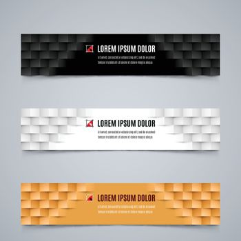 Set of Simple Banners Template with Modern Geometric Pattern in White, Black and Orange Colors