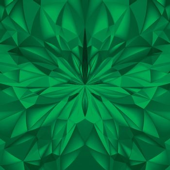Abstract Green Composition. Magic Explosion Star with Particles