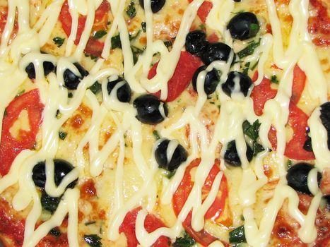 Fresh pizza in macro view