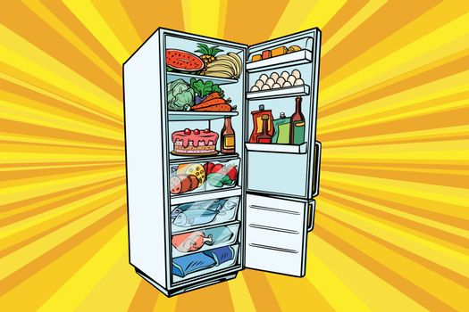 Home refrigerator filled with food