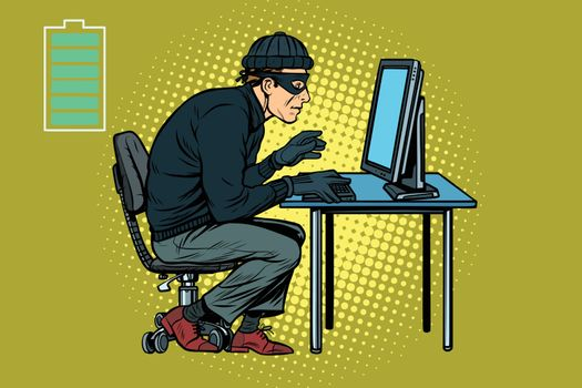Caucasian hacker thief hacking into a computer