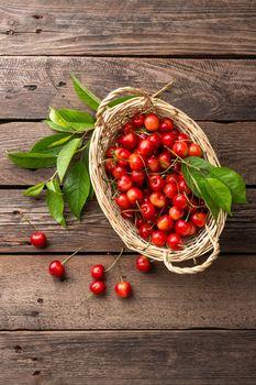 Sweet cherry in basket
