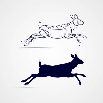 Deer Silhouette with Sketch Running on Gray Background