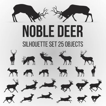Illustration with Deer Silhouettes Isolated on Gray Background