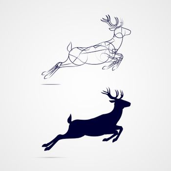Illustration of Running Horned Deer Silhouette with Sketch Template on Gray Background