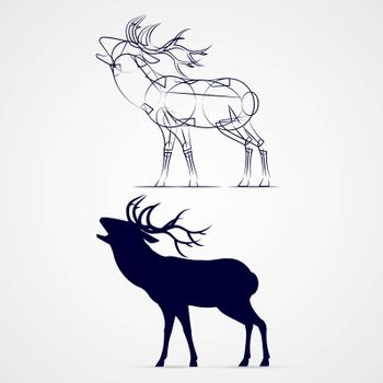 Roaring Horned Deer Silhouette in a Time of Estrus with Sketch Template on Gray Background