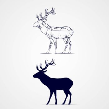 Standing Horned Deer Silhouette with Sketch Template on Gray
