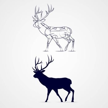 Standing Horned Deer Silhouette with Sketch on Gray Background