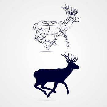 Illustration of Running Horned Deer Silhouette with Sketch Template