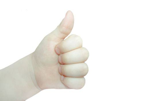 Thumb up hand. Child. all is well. Over white background. Photo for your design