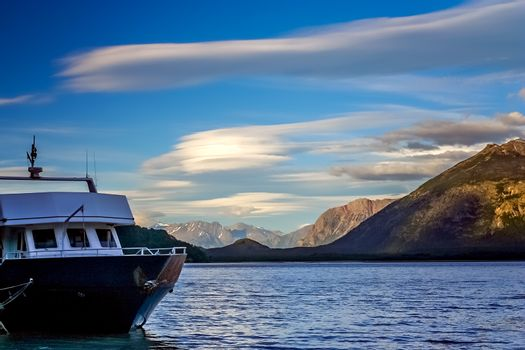 Boat transporting tourists across beautiful Lago O Higgins from  Chile to Argentina