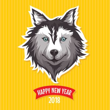 New Year 2018 greeting card with stylized dog