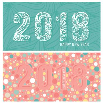2018 new year banners with stylized numbers