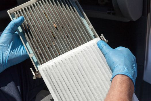 Clean and dirty cabin air filter for car