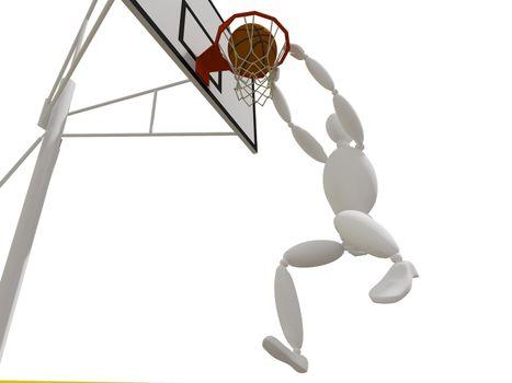 slam dunking basketball, 3d