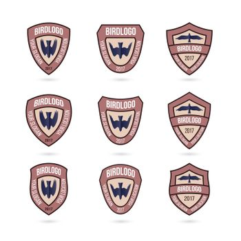 Set of Predator Bird Logos Chevron. Illustration at White Background