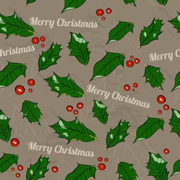 Seamless Christmas texture with holly leaves. Vector illustration EPS 8