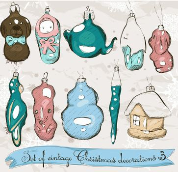 Set of real vintage Christmas decorations 2. Vector illustration EPS8