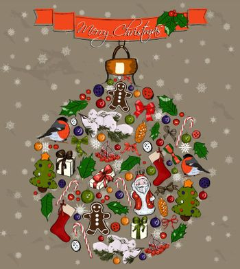 Christmas ball made from decorations. Vector illustration EPS10