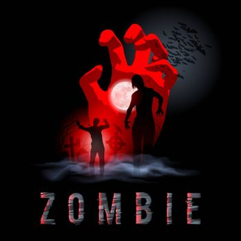 Zombie Walking out from Grave. Halloween Night Poster