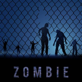 Zombie Walking. Silhouettes Illustration for Halloween Poster