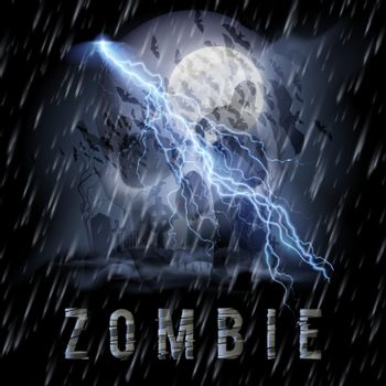 Halloween Background with Skull, Zombie in a Rainy Weather