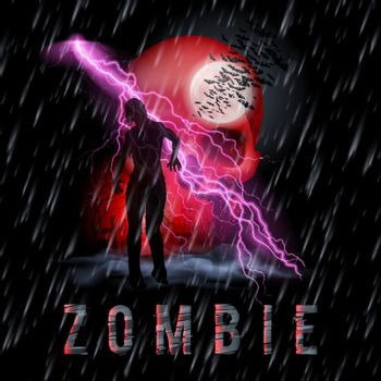 Halloween Background with Walking Zombie in a Rainy Weather
