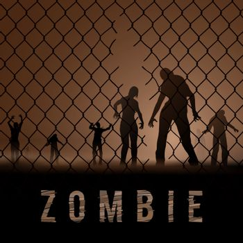 Zombie Walking at Night. Silhouettes Illustration for Poster Template