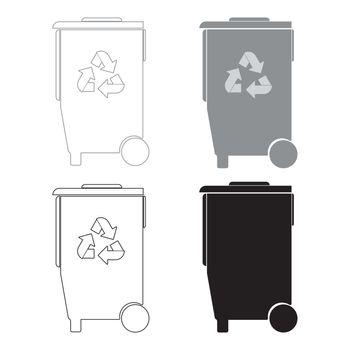 Refuse bin with arrows utilization the black and grey color set icon .