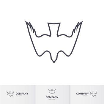 Stylized White Bird of Prey for Mascot Logo Template on White Background