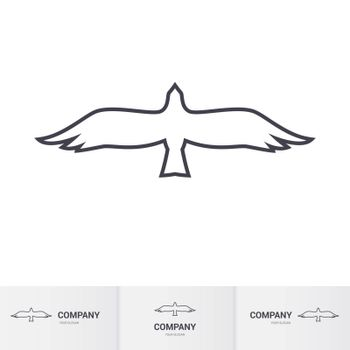 Simple White Bird of Prey for Logo Template on White Background